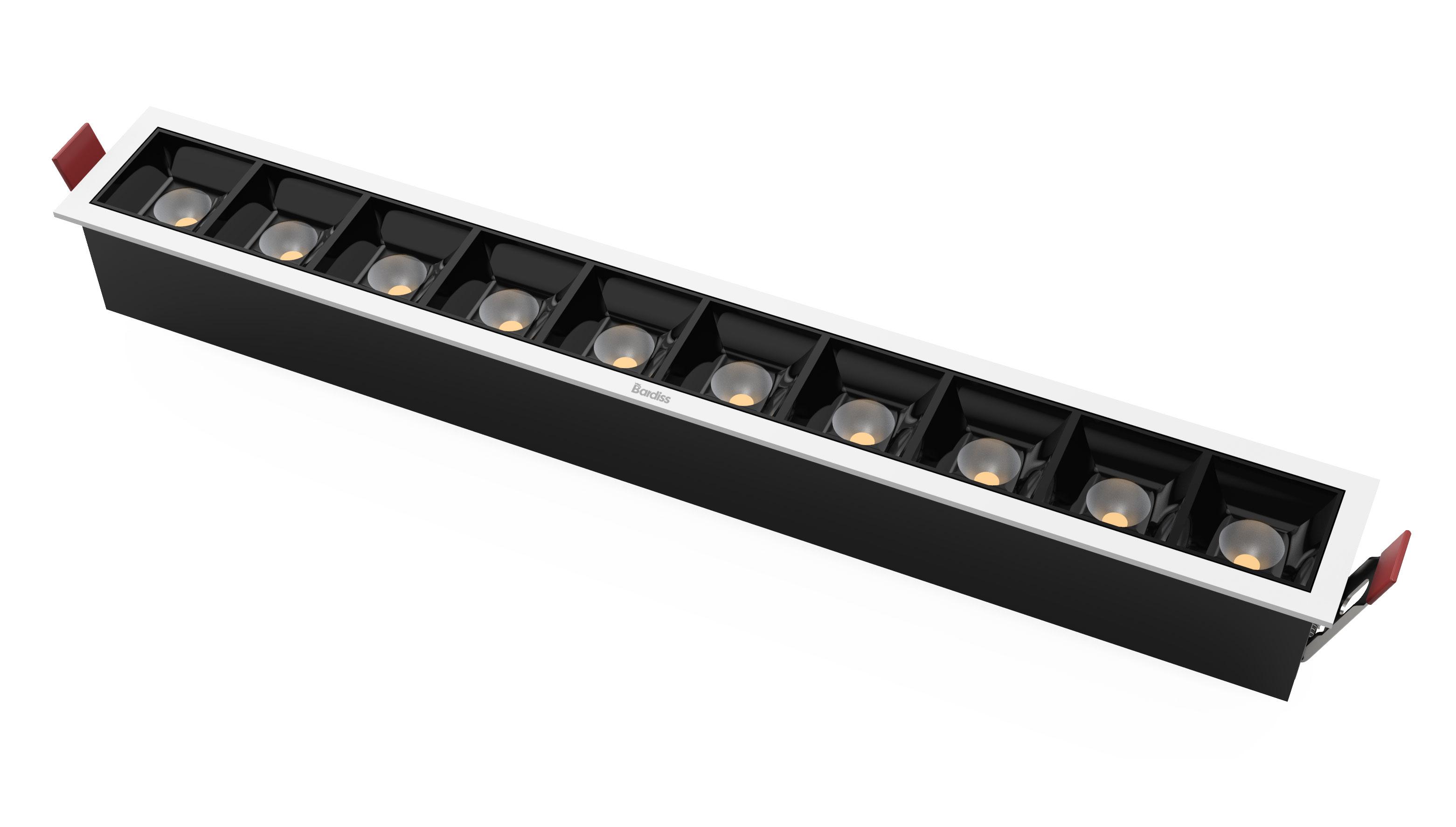 集成吊顶单照明10*2W防眩线灯(黑色/金色)效果图